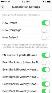 Push notifications and other subscriptions to inform about event