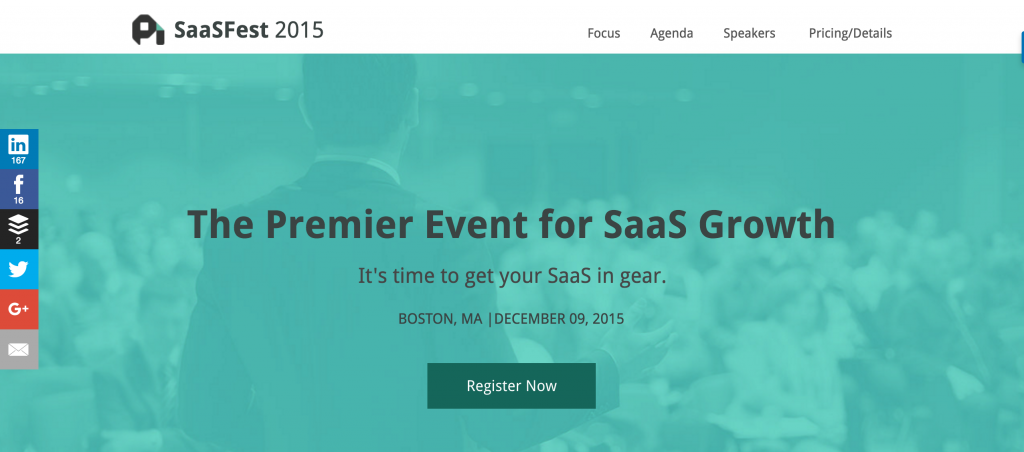 Mircosite example of SaaSFest as event website to draw attendees