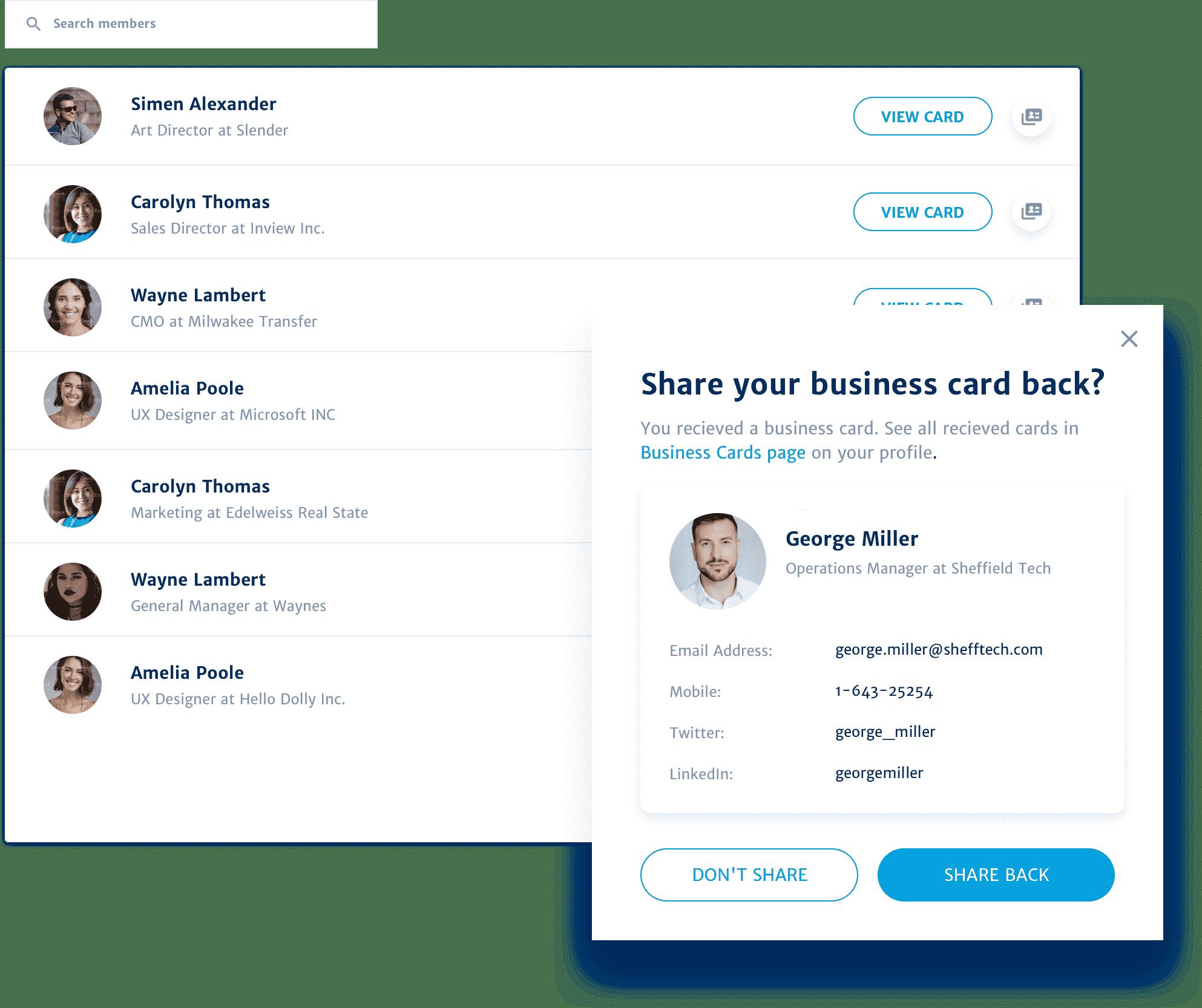webinar digital business card exchange