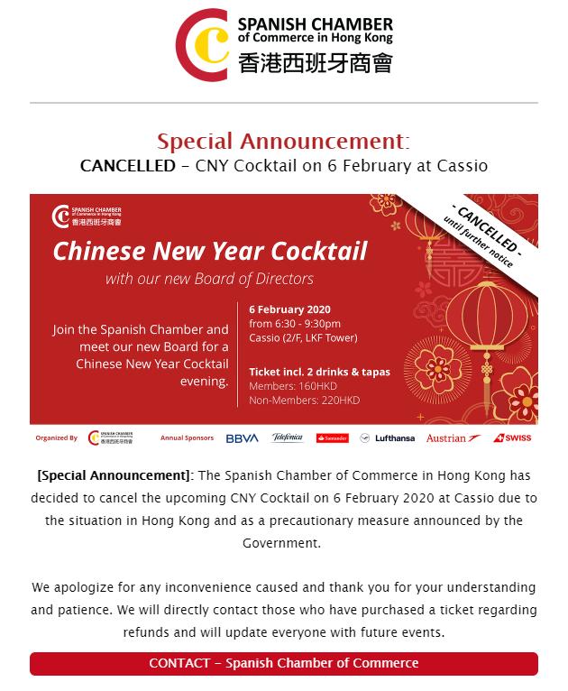 Spanish Chamber Cancelation
