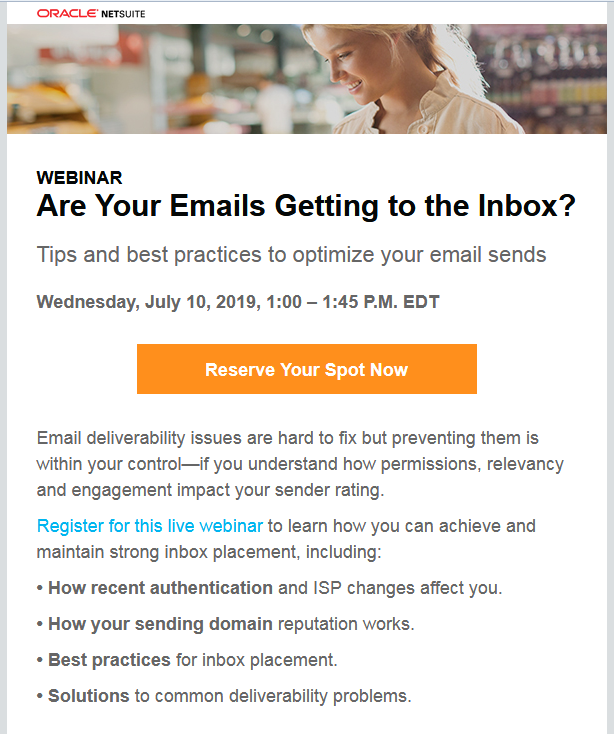 webinar question email invite example