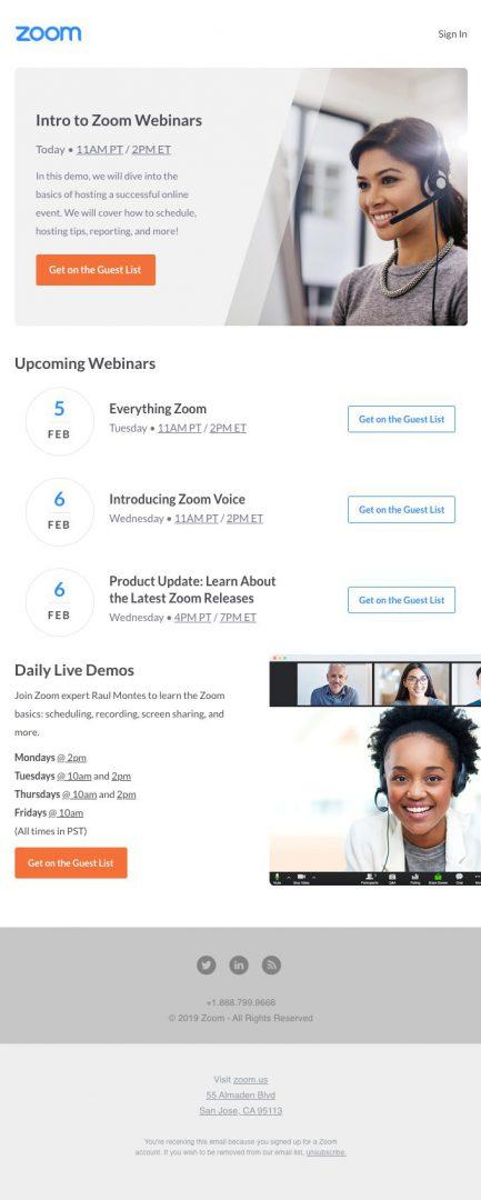 calendar of webinars