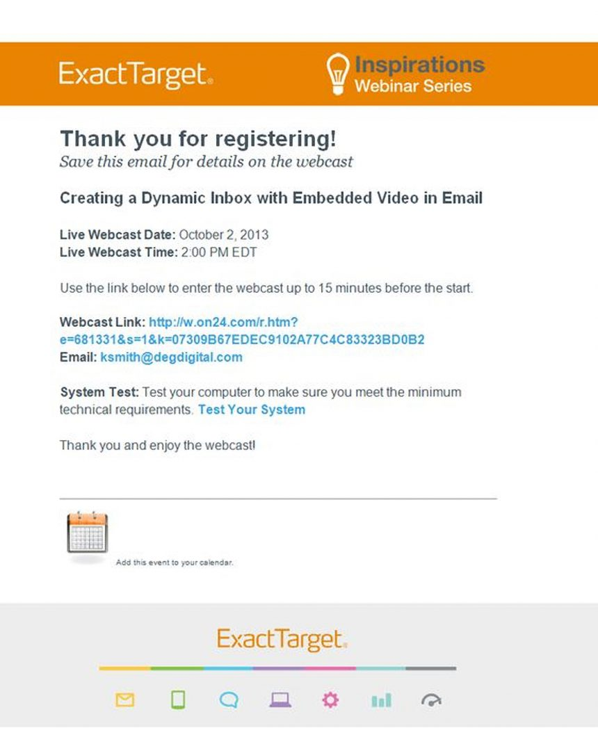 confirmation email for webinar invite