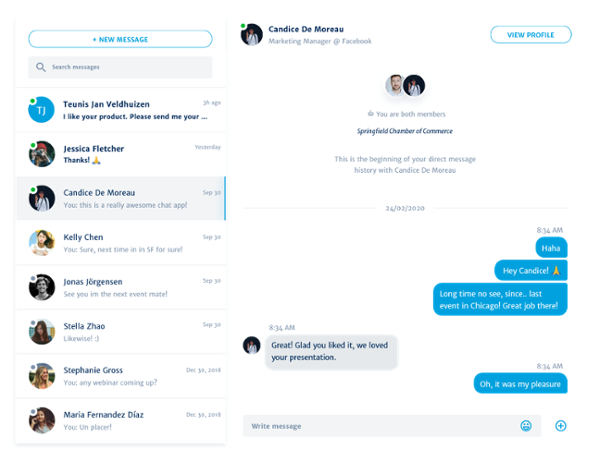 direct messaging for webinars and events