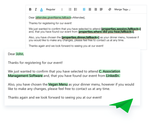 Email Customization Merge Tags