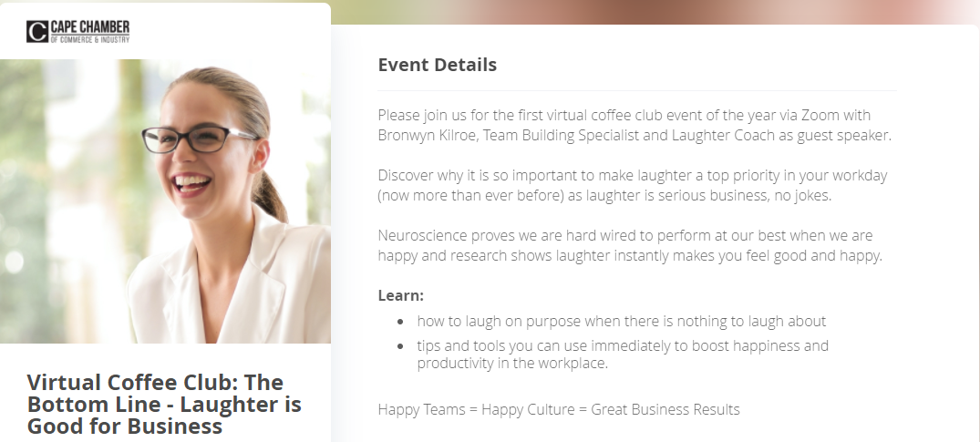 The Virtual Coffee Club: One of the Cape Chamber's successful virtual events in 2021
