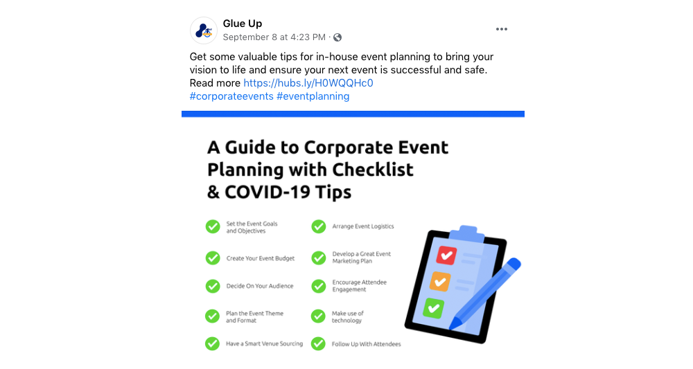 corporate event planning social media post