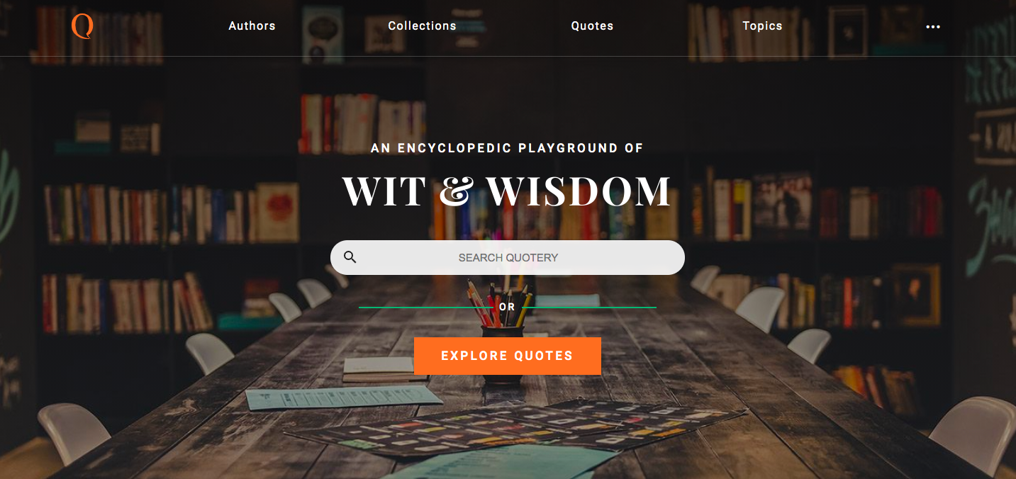 Quotery homepage